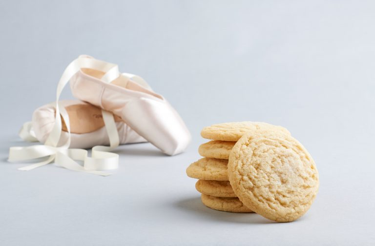 lemon drop cookie with ballet slippers